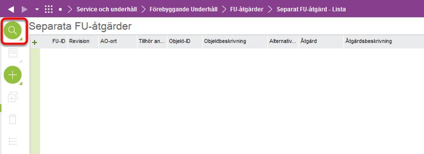 """I formuläret """"Separat FU-åtgärd - Lista"""", tryck på """"Sök""""-ikonen."""