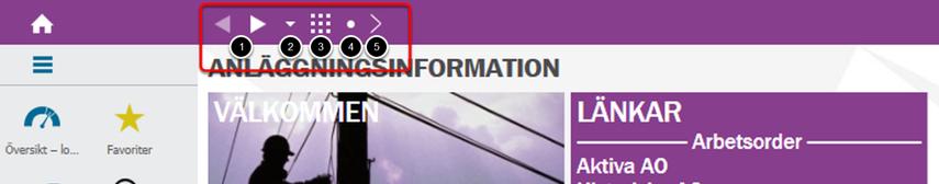 Fasta symboler för navigering i systemet