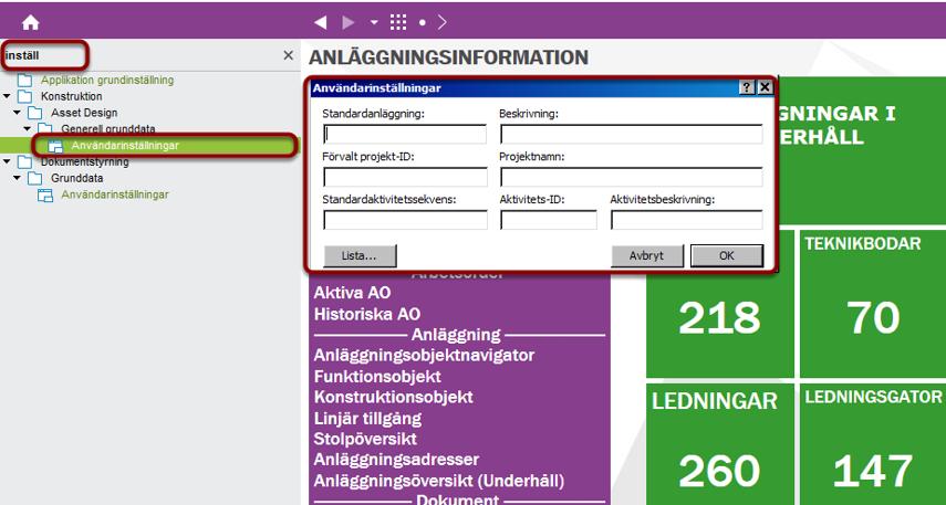 """Navigera till formuläret """"Användarinställningar"""" (under Konstruktion)"""