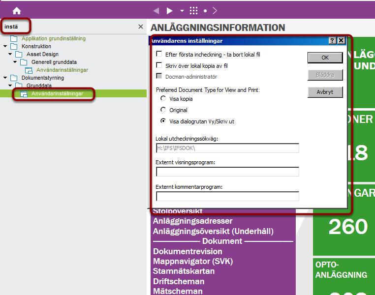 Navigera till användarinställningar (under Dokumentstyrning)