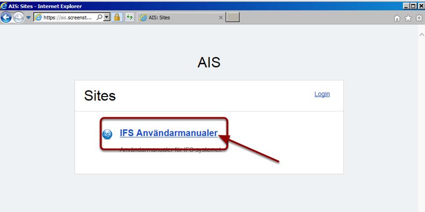 """Klicka på länken """"IFS Användarmanualer"""""""