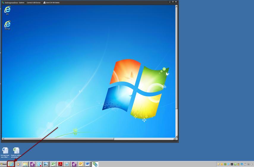 Öppna webbläsaren på din egen dator (Obs! inte webbläsaren i VMwarefönstret)