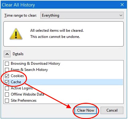 "Select ""Cookies"" and ""Cache"" and make sure ""Time range to clear"" is set to ""Everything"" then click ""Clear Now"""