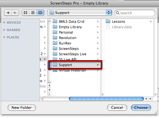 Select ScreenSteps Library Folder