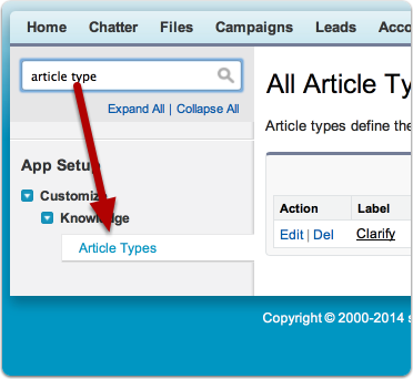Navigate to Customize > Knowledge > Article Types