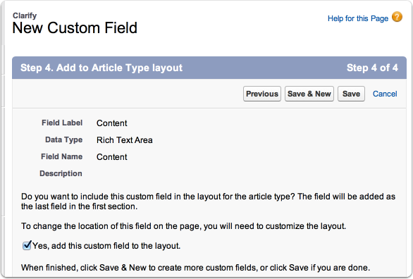 Clarify: New Custom Field ~ salesforce.com - Developer Edition