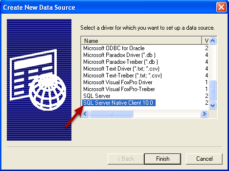 Select SQL Server Native Client Driver
