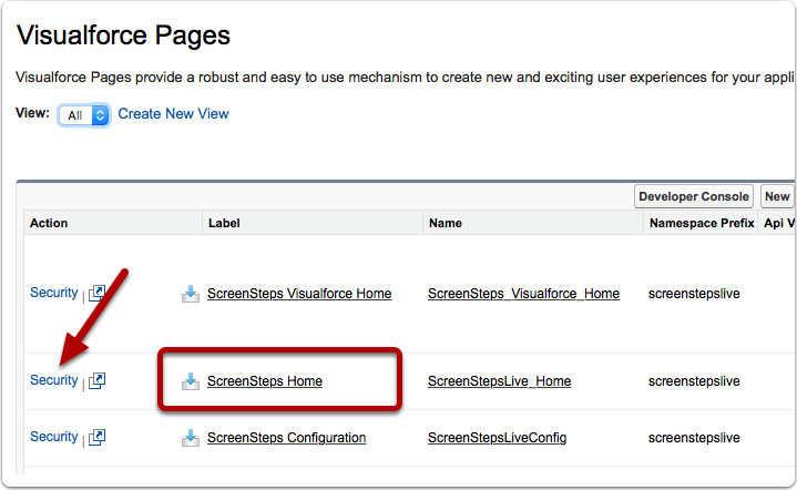 "Repeat steps for the ""ScreenSteps Home"" Visualforce Page"