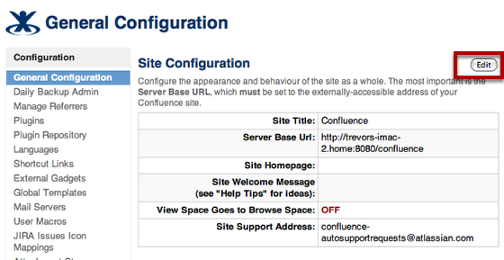 Edit Site Configuration