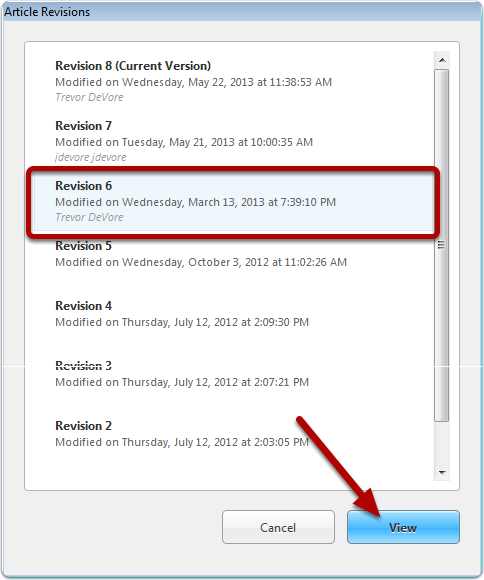 Select the revision to view
