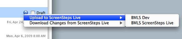 Choose Upload to ScreenSteps Live