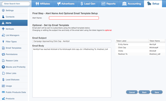 Naming the Alert and Editing Email Template Setup