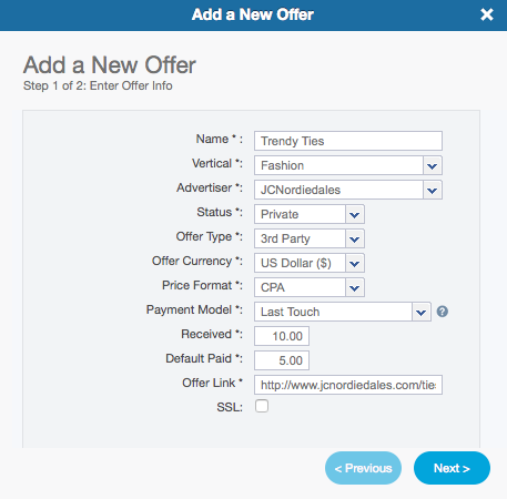 The Add a New Offer Wizard - 3rd Party Offer