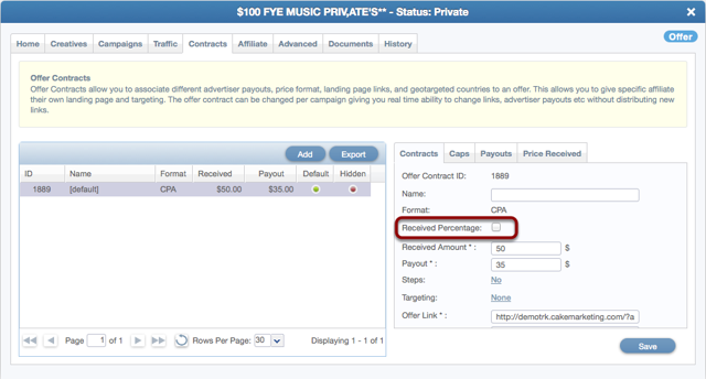 Case 1 Offer Contract Setup: Advertiser Passes Your Received Price For Each Conversion