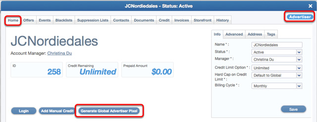 How does a Global Advertiser Pixel attribute the conversion to the correct offer?