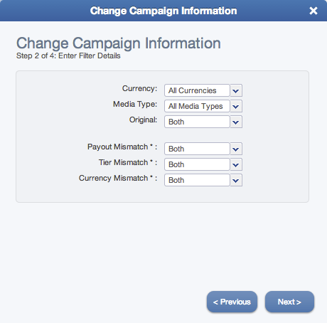 Edit Multiple Campaign Wizard (Step 2)