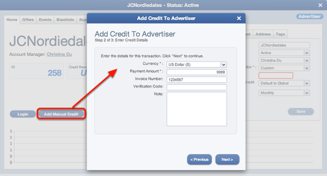 Applying a prepaid amount to an Advertiser