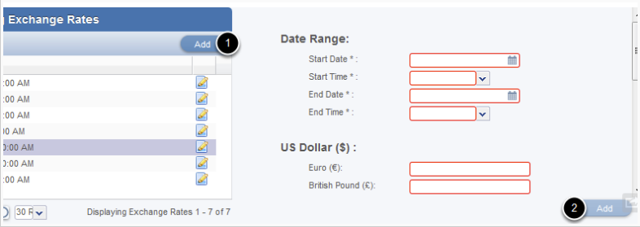 Adding a new exchange rate