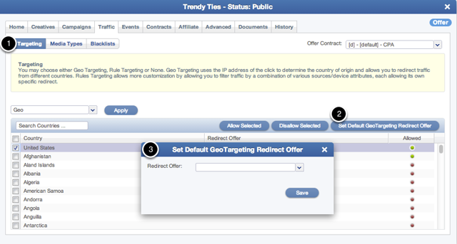Setting Geo Target Redirect for all non-allowed countries