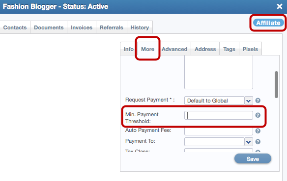 Managing The Minimum Payment Threshold For An Individual Affiliate