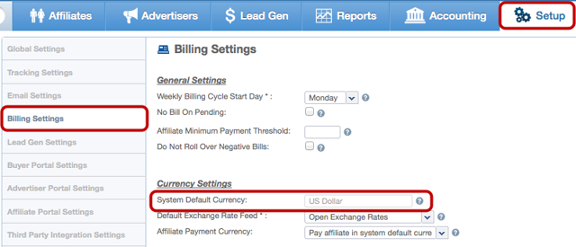 View Default Currency