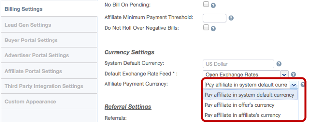 Affiliate Payment Currency
