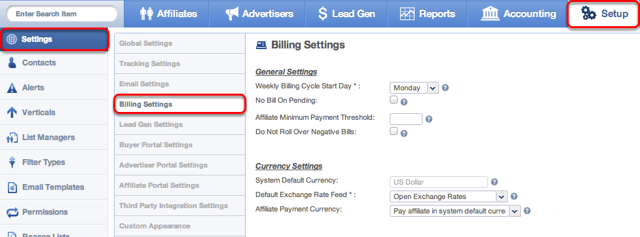 Where to access Billing Settings
