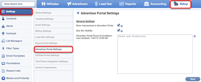 Where to find Advertiser Portal Settings