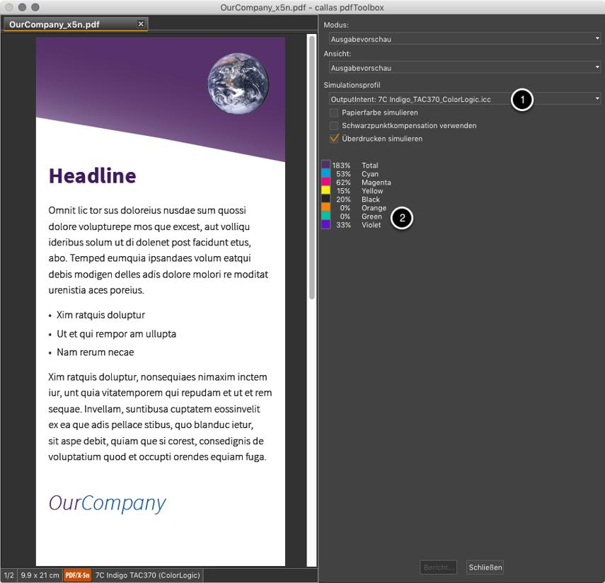 Ausgabevorschau mit dem korrekten PDF/X-5n-Farbprofil