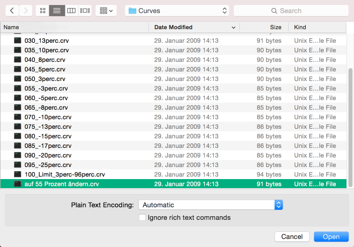 Liste der Tonwertkorrektur-Konfigurationen: duplizierte Curves-Datei in Texteditor öffnen (mit TextWrangler, NotePad++, o.ä.)