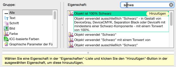"""Neue Prüfung konfigurieren: Nach Prüfkriterien für """"schwarz"""" suchen"""