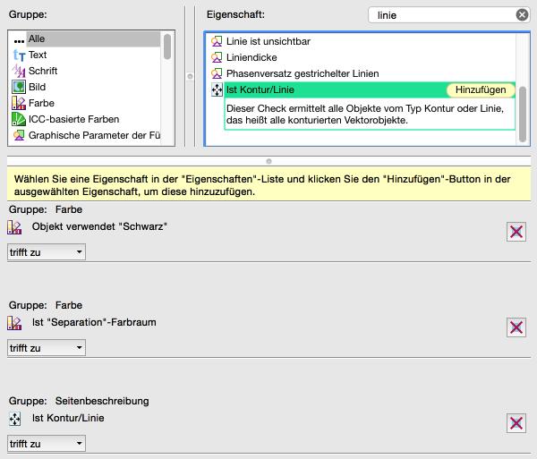 """Neue Prüfung konfigurieren: 'Ist Kontur/Linie' hinzugefügt –Wichtig: auf """"trifft zu"""" schalten!"""