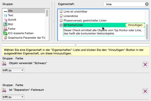 Neue Prüfung konfigurieren: 'Ist Kontur/Linie' auswählen und hinzufügen