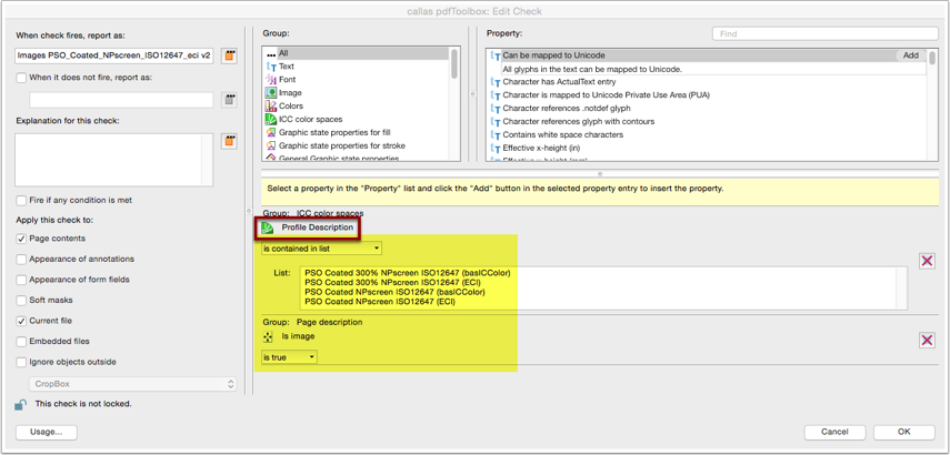 "Analyze imported Profile: Custom fixup ""Convert colors"" objects check"