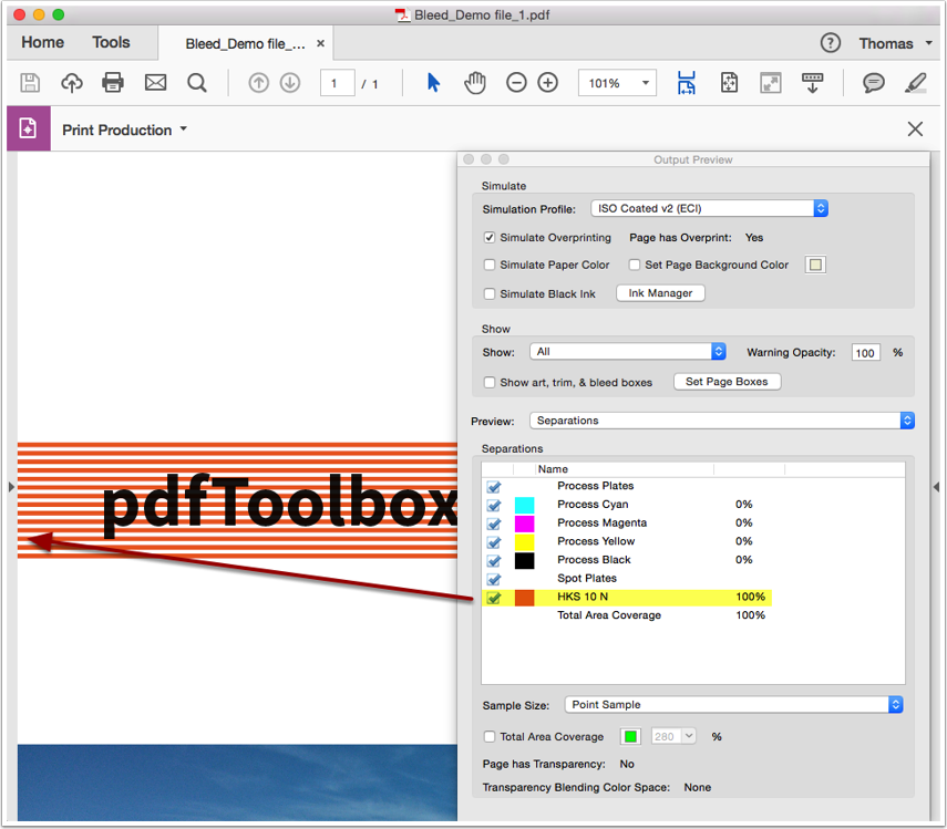 "Open the PDF file ""Bleed_Demo file_1"" in Adobe Acrobat Output Preview"