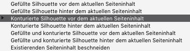 Konturierte Silhouette vor dem aktuellen Seiteninhalt