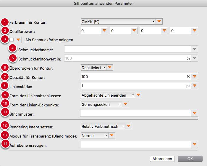 """Parameter für """"Konturierte Silhouette vor dem aktuellen Seiteninhalt"""""""