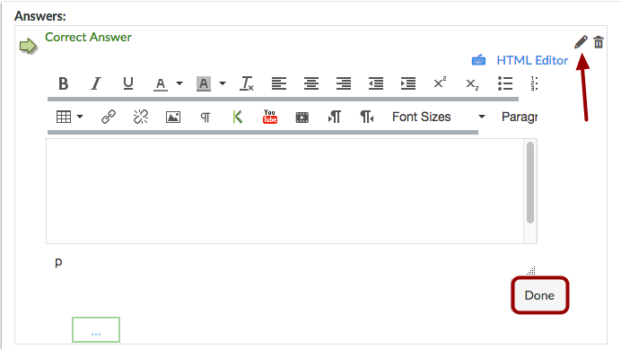 Crear respuestas con el Editor de contenido enriquecido.