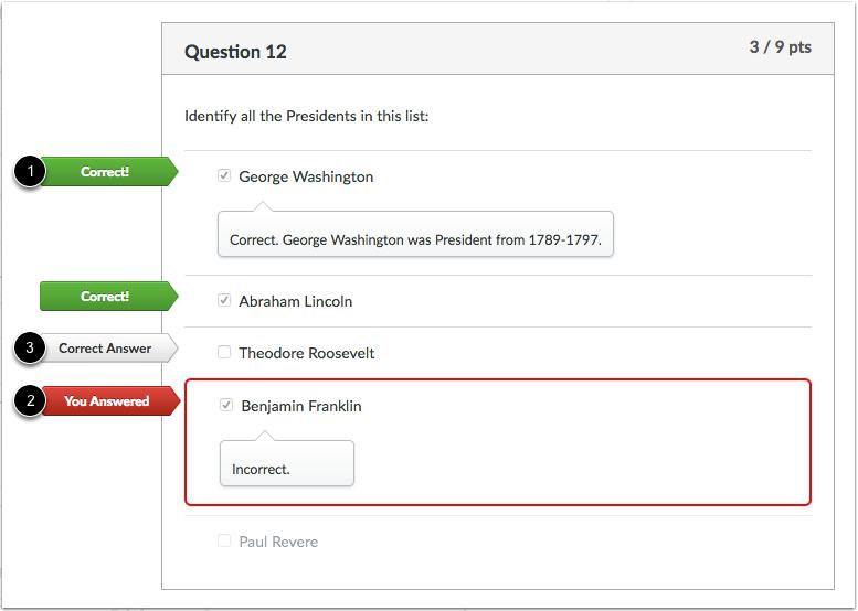 多答案选择题反馈的学生视图