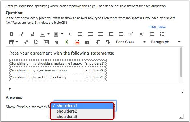 添加回应作为每个Likert量表项的参考答案