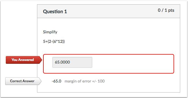 公式测验题不正确答案的学生视图