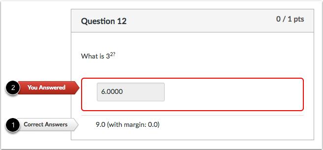 数值不正确答案问题的学生视图
