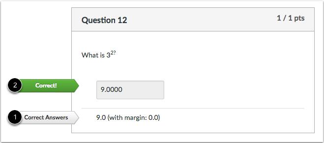 数值正确答案问题的学生视图
