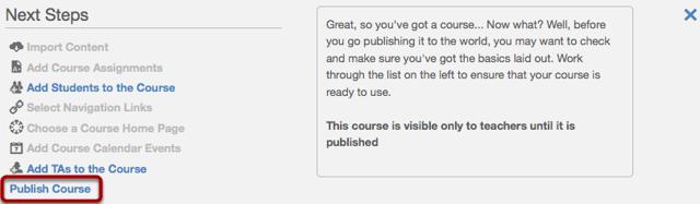 Open Publish Course Option