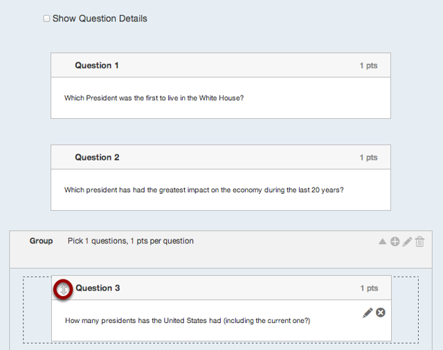 Drag Existing Questions into Question Group