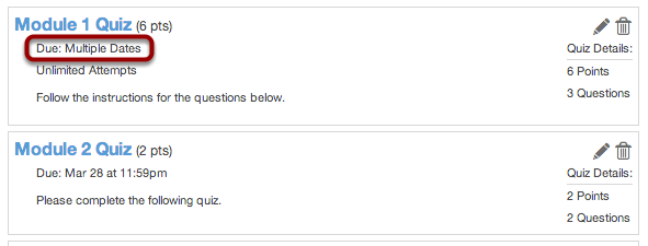 View Quiz Page