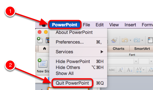 Quitting PowerPoint on a Mac