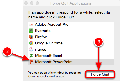 Launch the Force Quit Applications Window