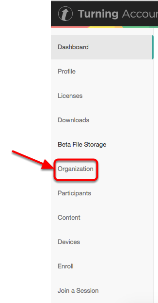 Accessing the Organization Menu in your Turning Account