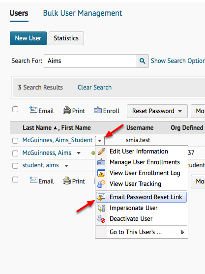 Reset User Password